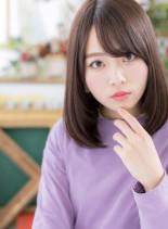 斜めバング大人かわいいストレート艶ミディ(髪型ミディアム)