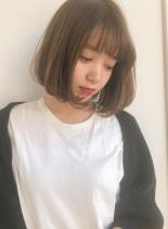 30代40代小顔内巻きワンカールボブ(髪型ボブ)