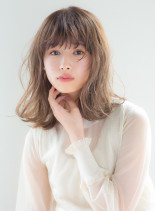 無造作パーマミディ(髪型ミディアム)