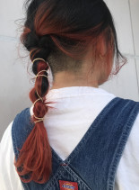 ブラッドオレンジ×三編みおろしアレンジ(髪型セミロング)