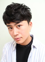 メンズナチュラルパーマショート(髪型メンズ)