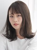 カジュアルなラフミディ×大人可愛いバング(髪型ミディアム)