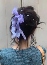 ゆるふわアップスタイル(髪型ミディアム)
