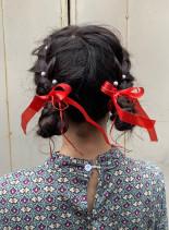 編み込みツインシニヨン(髪型ミディアム)