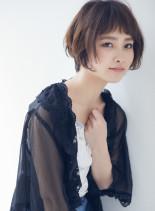 毛先ワンカール モードボブ(髪型ショートヘア)