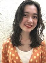 カットメラニンブレイク+ホワイトブラウン(髪型セミロング)
