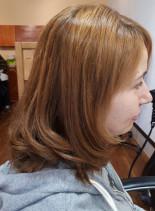 切りっぱなしボブonワンカール(髪型ミディアム)