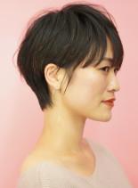 手入れ簡単ふんわり耳かけショートヘア(髪型ショートヘア)