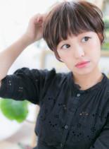 大人かわいい小顔丸みニュアンスショート(髪型ベリーショート)