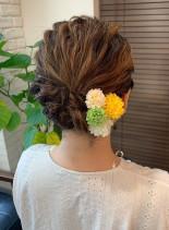 編み込みゆるアップ(髪型ミディアム)