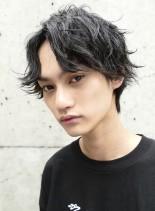 サイドパート×スパイラルパーマ(髪型メンズ)