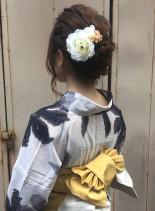 編み込みまとめアップ(髪型ミディアム)