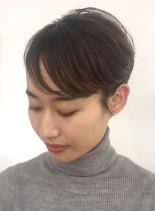 秋の耳出しハイライトショート(髪型ショートヘア)