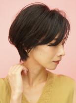手入れ簡単☆大人女性の丸みショートボブ(髪型ショートヘア)