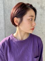 パープル×ツヤショートボブ(髪型ショートヘア)