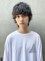 マッシュウルフ×スパイラル風パーマ(髪型メンズ)