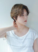 センターパート×ハンサムショート(髪型ショートヘア)
