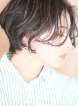 大人可愛い*小顔ひし形パーマショートボブ(髪型ショートヘア)