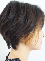 骨格補正ハンサムショート×デザインカラー(髪型ショートヘア)