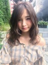 ブランジュカラーと長め前髪のセミロング♪(髪型セミロング)