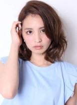 大人可愛いかきあげミディ(髪型ミディアム)