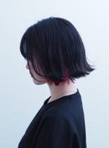 甘辛インナーカラー×切りっぱなしボブ(髪型ボブ)