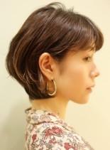 大人可愛い 小顔ショートボブ(髪型ショートヘア)