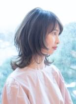 大人のウルフレイヤー(髪型ミディアム)