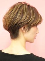 手入れ簡単☆大人女性の小顔ショートボブ(髪型ショートヘア)