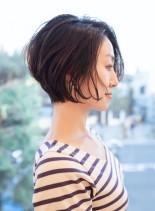 大人小顔ショートボブ(髪型ショートヘア)