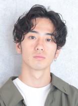 【メンズパーマ】大人センターパート(髪型メンズ)