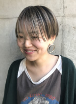 透け感グレージュ  ハンサムマッシュ(髪型ショートヘア)