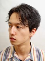 大人カーリーセンターパート(髪型メンズ)