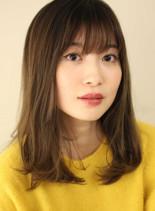 透明感カラーの綺麗なセミディ(髪型セミロング)
