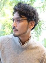 アップバングウェーブショート(髪型メンズ)
