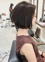 30、40代美シルエットシンプルボブ (髪型ボブ)