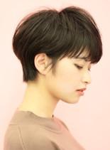 手入れ簡単☆大人の黒髪ショートカット(髪型ショートヘア)