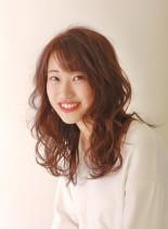 ピンクラベンダーカラー(髪型セミロング)