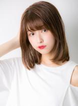大人ゆるふわワンカール(髪型ミディアム)