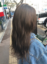 ココアブラウンナチュラルハイライト(髪型ロング)