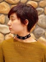 大人マッシュショート ☆ カシスピンク(髪型ショートヘア)
