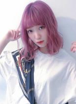 選べるブリーチ+ベリー系Wカラー(髪型ミディアム)