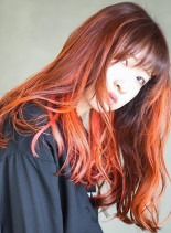 オレンジグラデーション(髪型ロング)