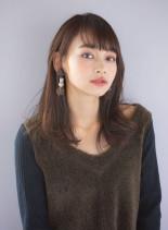 重透けバング×ナチュラルセミディ(髪型セミロング)