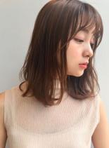 小顔前髪×色っぽミディアム(髪型ミディアム)