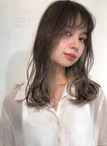 カット+シークレットグラデーション(髪型セミロング)