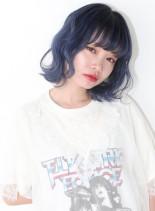 カット+ブリーチ×1+ブルー(髪型ボブ)