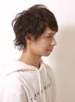 ミディアムウルフパーマ(髪型メンズ)