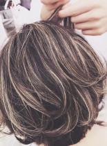 30代・40代◎メリハリハイライト(髪型ショートヘア)