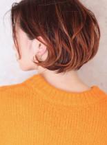 外国人風シルエット*3Dカラーボブ(髪型ボブ)